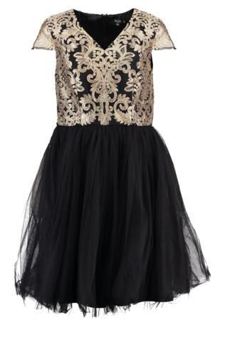 Chi Chi London Curvy SHAHEEN Sukienka koktajlowa black/gold
