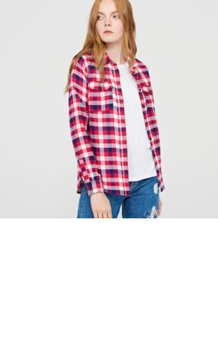 Cropp - Koszula w dużą kratę - Różowy