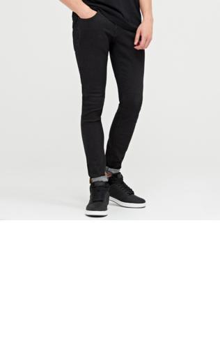 Cropp - Jeansy slim fit z efektem sprania - Czarny