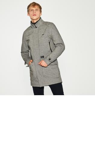 House - Elegancki płaszcz z domieszką wełny - Czarny
