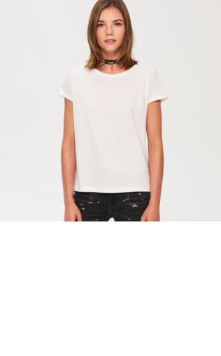 Sinsay - Gładki bawełniany t-shirt - Biały