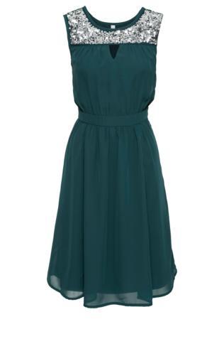Sukienka wieczorowa z cekinami bonprix zielony
