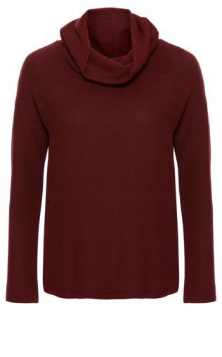 Miękki sweter z golfem bonprix czerwony kasztanowy melanż