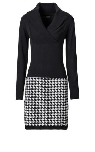 Sukienka dzianinowa bonprix czarno-biel wełny