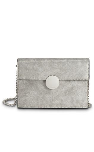 Mała torebka na ramię z okrągłym elementem bonprix szary metaliczny - srebrny