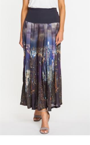 Długa spódnica z motywem miasta - Duet Woman
