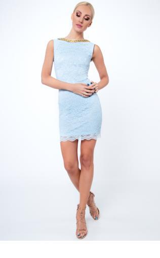 Sukienka koronkowa krótka jasnoniebieska G5283