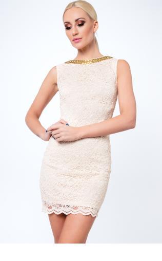 Sukienka koronkowa krótka beżowa G5283