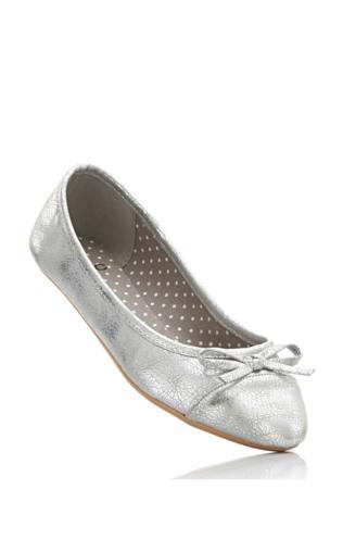 Baleriny bonprix srebrny