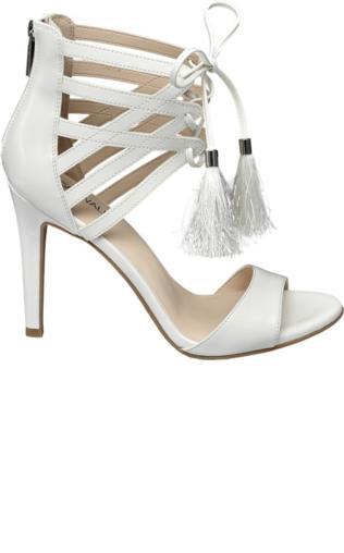 sandały na obcasie Catwalk białe