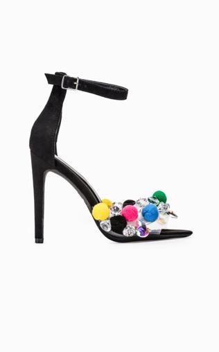 Sandały na szpilce z pomponami czarne LR199