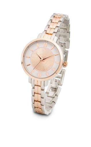 Zegarek dwukolorowy bonprix kolor czerwonego złota - srebrny kolor