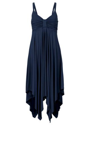 Sukienka z asymetryczną linią dołu bonprix ciemnoniebieski