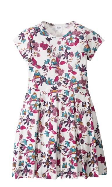 Sukienka shirtowa z nadrukiem bonprix biel wełny z nadrukiem