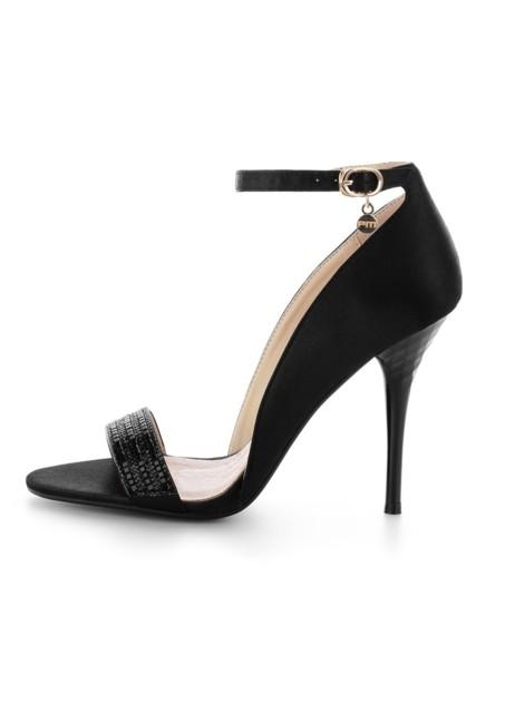 Czarne sandały na szpilce z ozdobnym paskiem NEIRONE