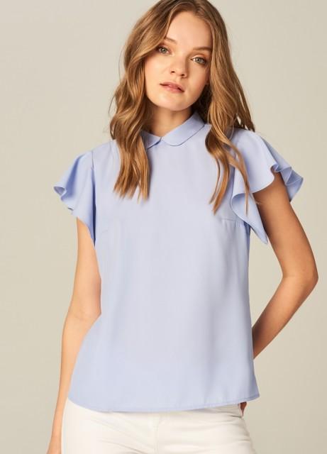 Mohito - Elegancka bluzka z falbanami na ramionach - Niebieski