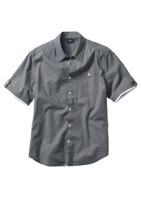 Koszula z lnem, Regular Fit bonprix dymny szary