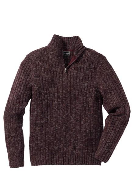 Sweter melanżowy ze stójką Regular Fit bonprix bordowy melanż
