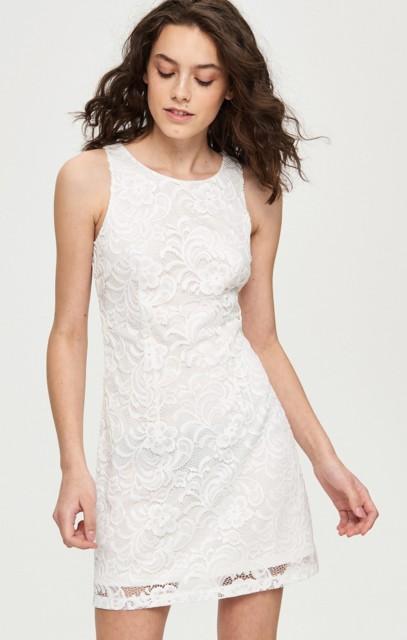 Sinsay - Koronkowa sukienka - Kremowy