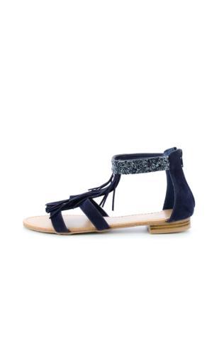 Granatowe sandały z frędzlami