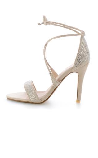 Beżowe wiązane sandały na szpilce ZECCONE