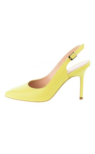 Żółte czółenka ze skóry licowej
