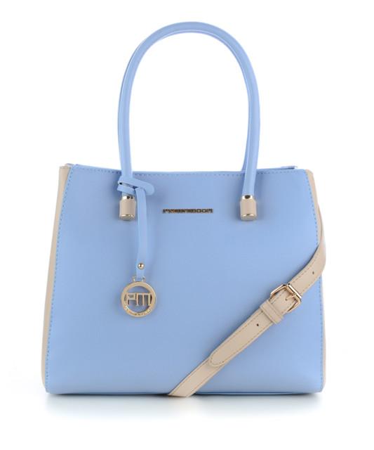 Błękitna torebka z beżowymi dodatkami PESCINA
