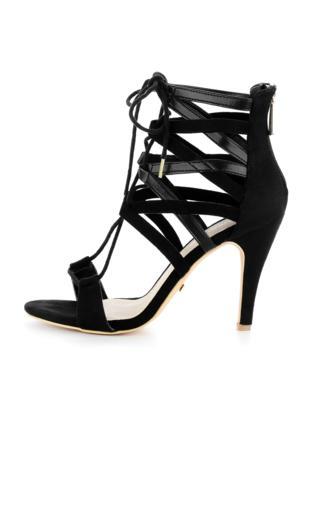 Czarne wiązane sandały na obcasie