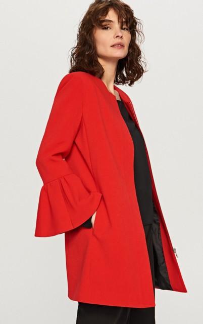 Reserved - Płaszcz z falbanami - Czerwony