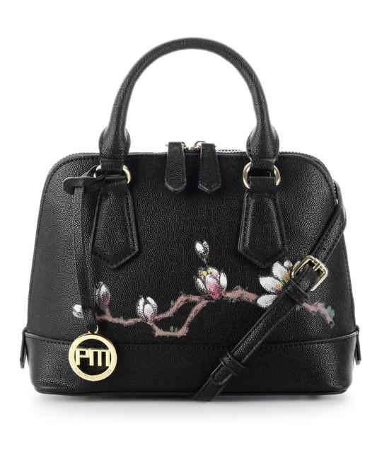Czarna torebka z ręcznie malowanymi kwiatami RECATTIVO