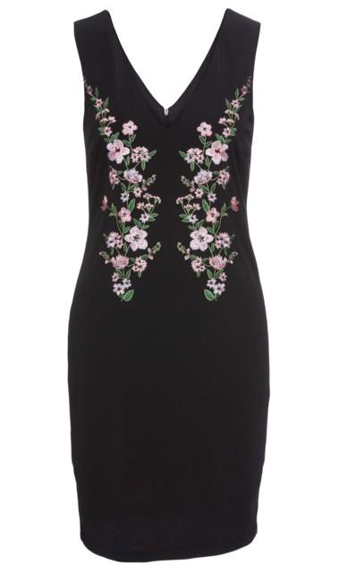 Sukienka z krepy z dżerseju z haftem bonprix czarny