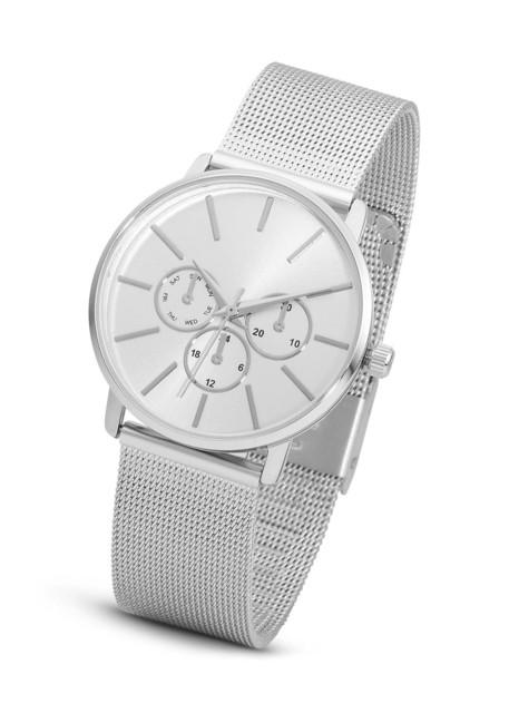 Zegarek na metalowej siatkowej bransoletce bonprix srebrny kolor
