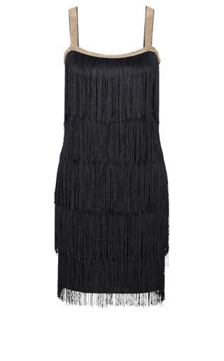 Sukienka z frędzlami bonprix czarny