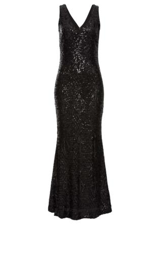 26ffc1fd8f2dfd Cekinowa długa suknia wieczorowa z kopertowym dekoltem | suknie na  sylwestra Sukienki maxi - {Shoperia} Lejdi