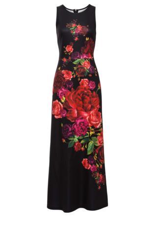 8de16240f52e Bordowa długa suknia wieczorowa z kwiatami 3D