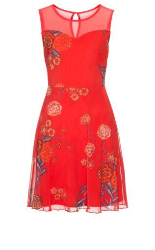 Sukienka z siatkowego materiału w kwiaty bonprix truskawkowy w kwiaty