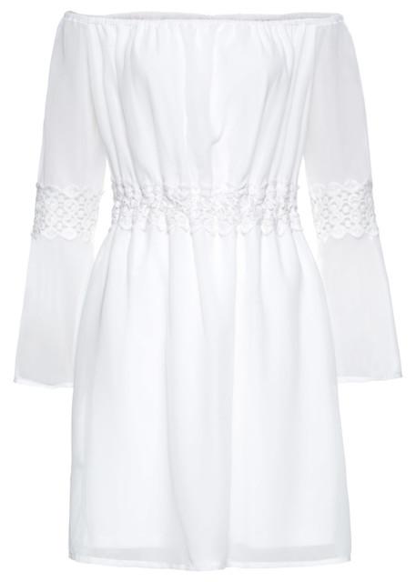 Sukienka z koronkową wstawką bonprix biały