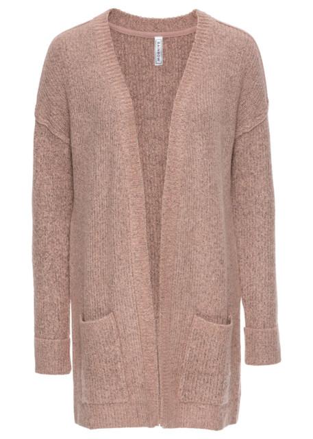 Sweter bez zapięcia bonprix stary jasnoróżowy