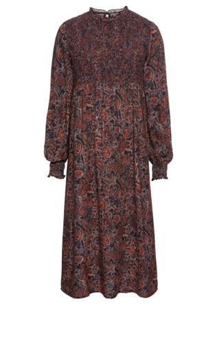 f9d493a6 Sukienka midi bonprix czarno-ciemnopomarańczowy z nadrukiem
