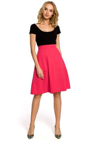fed6955e ALAINA Trapezowa spódnica długości do kolan - różowa