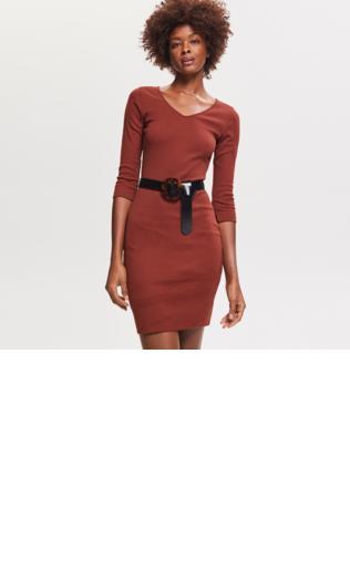 00a8885e0d07 Sukienka z dzianiny w prążki Sukienki dzianinowe -  Shoperia  ORSAY