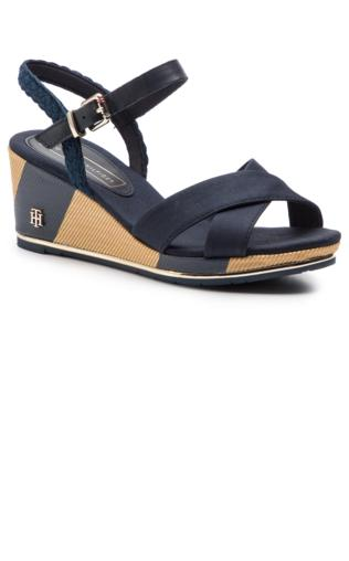 66b42bae4618c Espadryle TOMMY HILFIGER - Printed Closed Toe Wedge Sandal FW0FW03932  Midnight 403 Sandały - {Shoperia} Tommy Hilfiger
