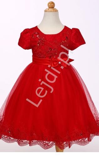 d41f283c8c Czerwona tiulowa sukienka w krótki rękawek