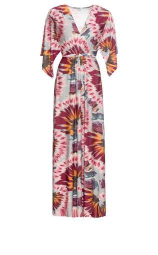 443933ce Długa sukienka z wiązanym paskiem bonprix kolorowy wzorzysty
