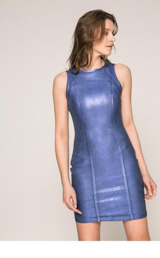 b2caf6844e0b2e Granatowa szyfonowa suknia z pawimi piórami | granatowe suknie wieczorowe  na studniówkę, sylwestra, karnawał Sukienki na imprezę - {Shoperia} Lejdi